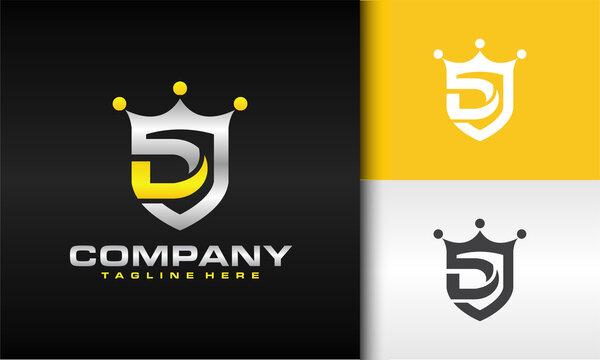 letter D shield crown logo