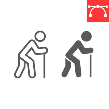 Old man with cane line and glyph icon, disability and pensioner, old man with walking stick sign vector graphics, editable stroke linear icon, eps 10.