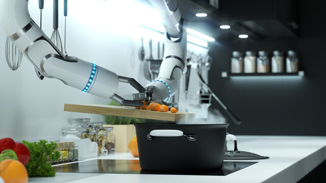 Robot hand prepares soup in a modern kitchen. Dumping the mark into boiling water.