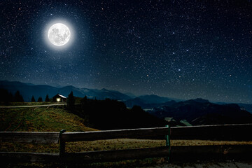 Wall Mural - mountain. backgrounds night sky with stars and moon and clouds.