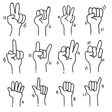sets of Sign Language Theme Doodle Collection In White Isolated Background, vector illustration