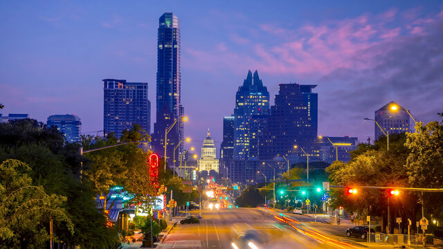 Austin city downtown skyline cityscape of Texas USA