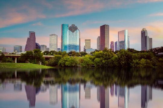 Houston city downtown skyline cityscape of Texas USA