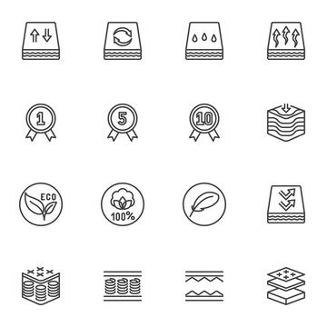Orthopedic mattress line icons set, outline vector symbol collection, linear style pictogram pack. Signs, logo illustration. Set includes icons as waterproof and breathable mattress, quality warranty