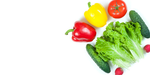 Fresh colorful organic vegetables captured from above (top view, flat lay) isolated on a white background. Layout with free (copy) space. Healthy food conception. Ingredients for salad