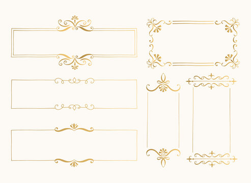 Set of golden rectangular frames. Elegant luxurious borders. Menu design. Vector illustration.