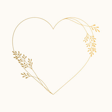 Elegant heart frame with golden herbs and leaves. Luxurious wedding design. Vector isolated illustration.