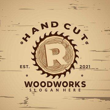 Letter R Wood Working Vintage logo design element vector illustration