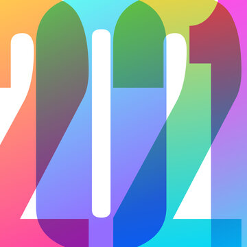 2021 New Year card. Colorful numbers design with trendy gradients for holiday greetings and invitations. Vector illustration.