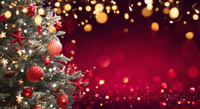 Christmas Tree With Decorations And Glitter. Winter Holiday Background