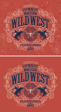 Country wild west rodeo bull rider vintage western and grunge version vector artwork for boy man wear t shirt