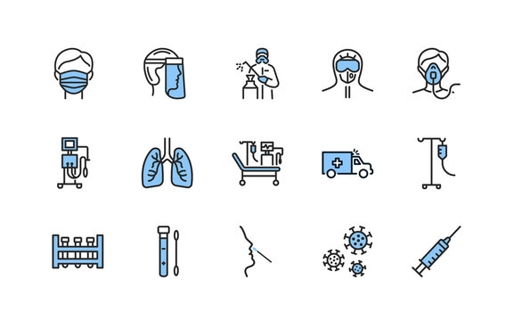 Covid-19 protection and medical test to detect it flat line icons set blue color. Vector illustration included artificial lung ventilation, on faces in ppe. Editable strokes.