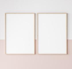 Fototapeta two wooden frames on pink and white wall, frame mockup, 3d render