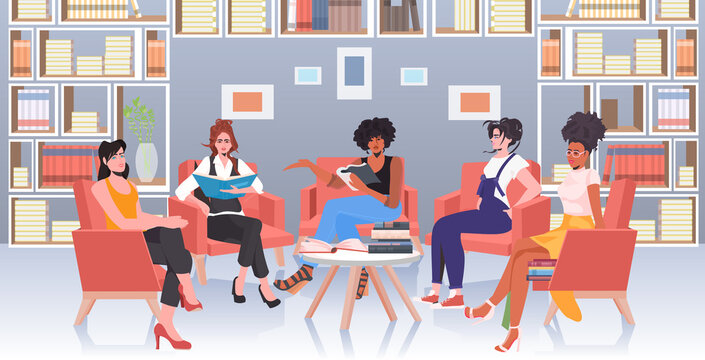 mix race women discussing during meeting in conference area female empowerment movement girl power union of feminists concept horizontal full length vector illustration