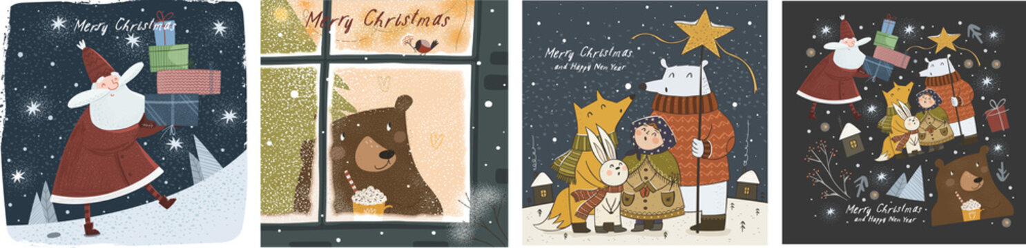 Happy New Year and Merry Christmas! Vector cute illustrations of a cheerful Santa Claus with gifts, a bear outside a winter window, and animals at night on the holiday. Drawings for greeting card and