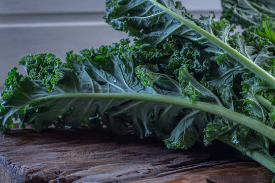 Kale leaves on wooden rustic background in the light window, winter season superfoods