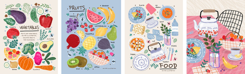 Fototapeta Food, vegetables and fruits. Vector illustrations: dishes, kiwi, broccoli, pumpkin, eggplant, avocado, pear, tomato, teapot, still life on the table, etc. Drawings for poster, card or background  obraz