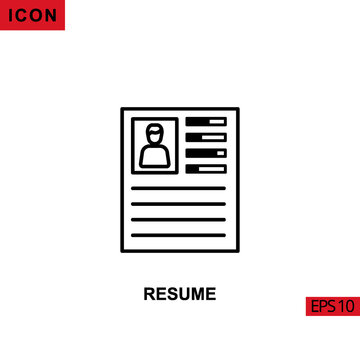 Icon resume curriculum vitae. Outline, line or linear vector icon symbol sign collection