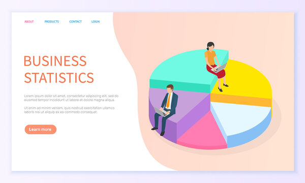 Expert team for business statistic, data analysis, management and marketing department. Landing page template. Financial administration consulting for company performance analyzis concept statistics