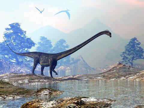 Barosaurus dinosaur walk - 3D render