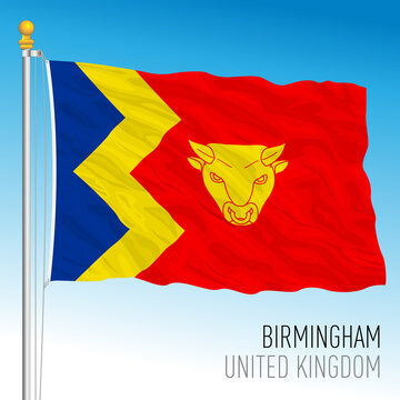 Birmingham city official flag, United Kingdom, vector illustration