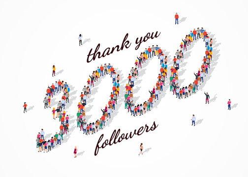 3K Followers. Group of business people are gathered together in the shape of 3000 word, for web page, banner, presentation, social media, Crowd of little people. Teamwork. Vector illustration