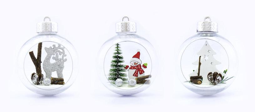 three christmas transparent spheres