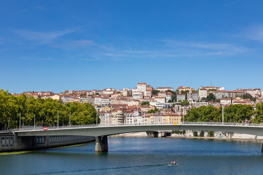 Alphonse Juin Bridge and Croix-Rousse district, Lyon, Rhone, France