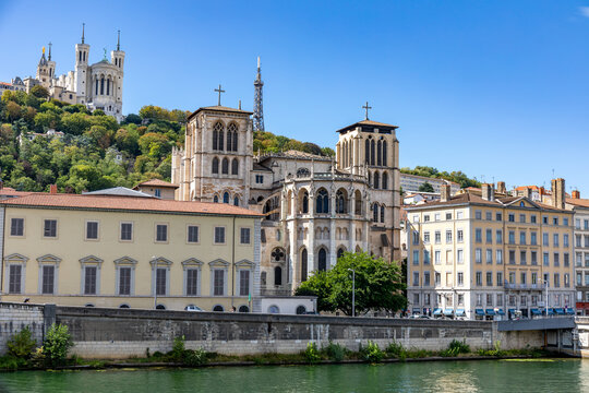 Fourviere and Saint-Jean Baptiste Cathedrals, Lyon, Rhone, France