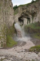 View of mountain waterfall Karakaya-su in Dzhily-Su tract