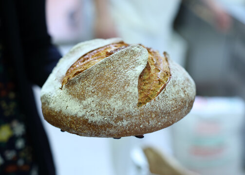 Beautiful fresh baked bread in the shape of a boule
