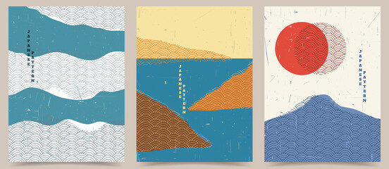 Vector illustration. Abstract background set. Japanese pattern. Geometric template collection. Traditional of Japan. Asian concept. Vintage art. Design for posters, book covers, brochures, flyers.
