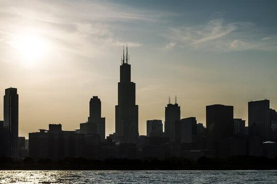 Beautiful Chicago skyline at sunset