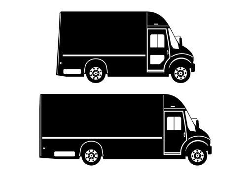 Step van. Modern courier van silhouette in two length versions. Side view. Flat vector.