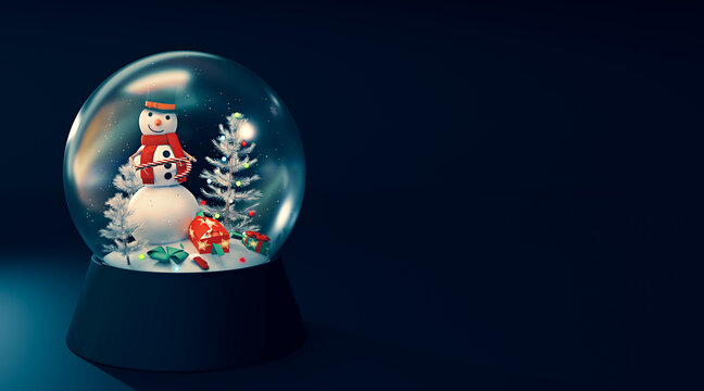 Snow globe with smiley snowman and gifts.