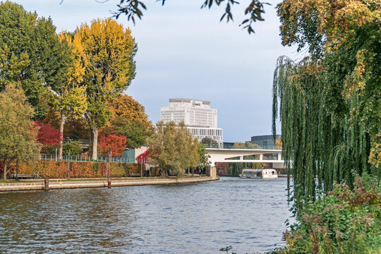Banks of the river Spree  and the building of the Charite in Berlin, Germany