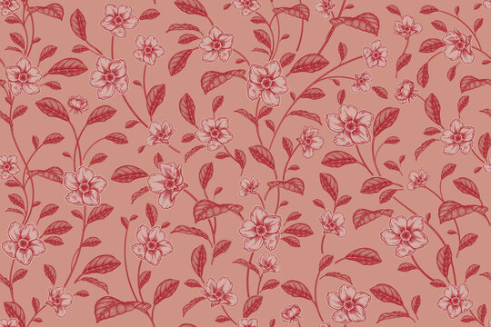 Seamless pattern. Abstract ackground with red flowers. Vector.