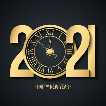 2021 New Year greeting card with gold 2021 numbers creative design, golden clock and Happy New Year holiday greetings. Vector illustration.