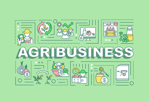 Agribusiness word concepts banner. Agricultural production. Infographics with linear icons on mint background. Isolated typography. Vector outline RGB color illustration