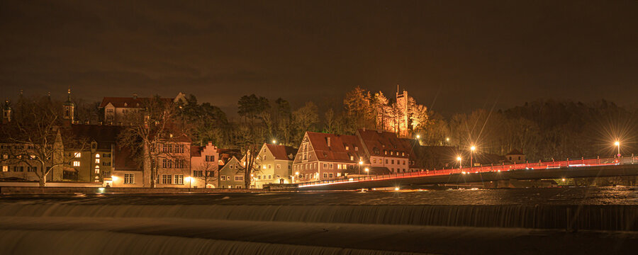 Landsberg am Lech a city in Bavaria Germany with a waterfall. Shot with long time exposure at night.