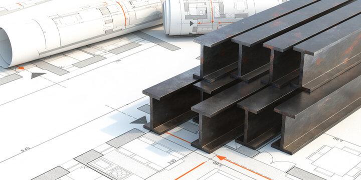 Steel beams stack on project blueprints background. 3d illustration