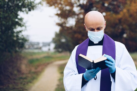 Prayer of a priest in a small village during a pandemic.