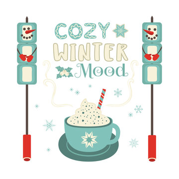 Cozy winter mood smores and cocoa sign vector
