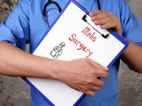 Health care concept meaning Mohs Surgery with phrase on the sheet.