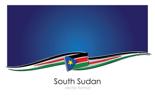 South Sudan Flag with colored hand drawn lines in Vector Format