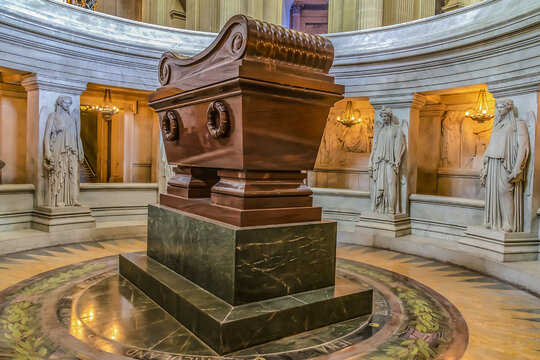 Tomb of Napoleon in Saint Louis Cathedral of Les Invalides (National Residence of Invalids) - complex of museums and monuments relating to military history of France. PARIS, FRANCE. April 10, 2016.