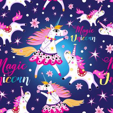 Seamless bright pattern with unicorns and stars