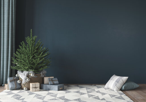 Festive interior with cute little christmas tree