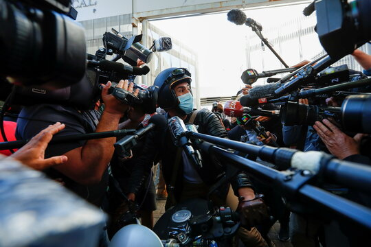 Personal physician of Argentine soccer great Diego Maradona, Dr. Leopoldo Luque, speaks to the media outside the clinic where Maradona underwent brain surgery, in Olivos