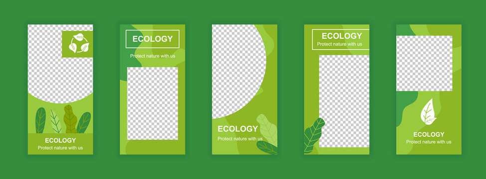 Ecology and environment editable templates set for Instagram stories. Green plants and organic life. Elegant design for social networks. Insta story mockup with free copy space vector illustration.